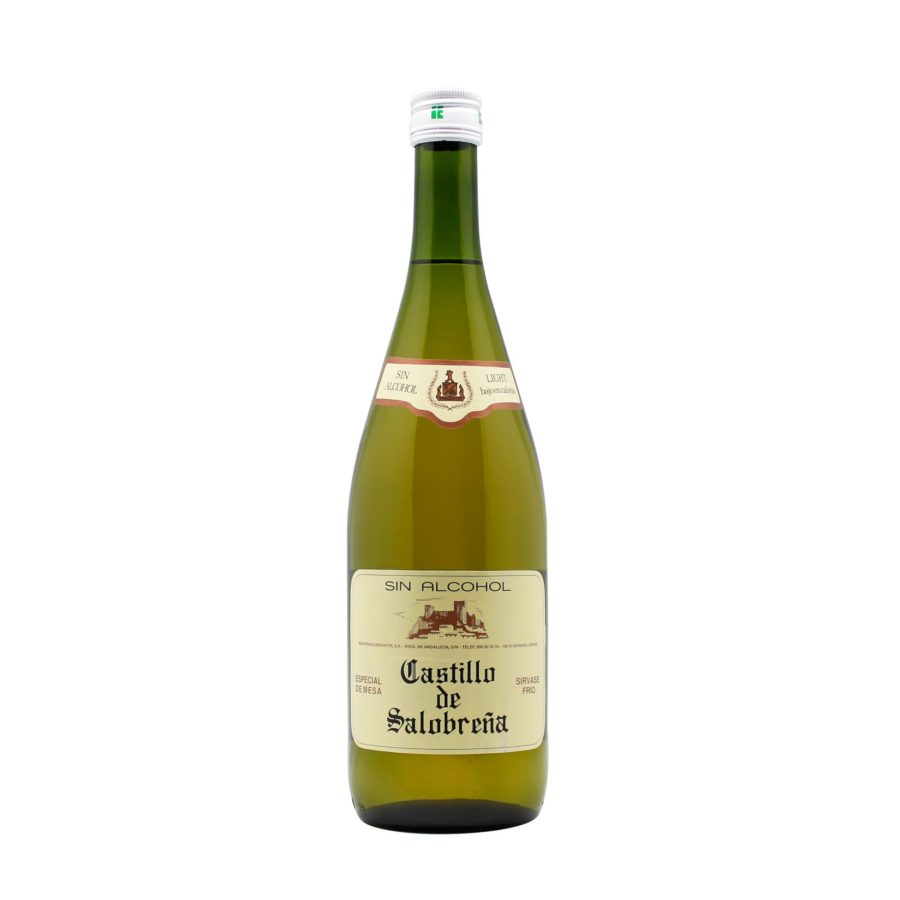 "Castillo de Salobreña Beverage Bottle, also known as ""non-alcoholic fruit wine"" based on grape and apple juice, ideal as an aperitif and as a side to meals, without gas, without gluten, without alcohol and low in sugars."