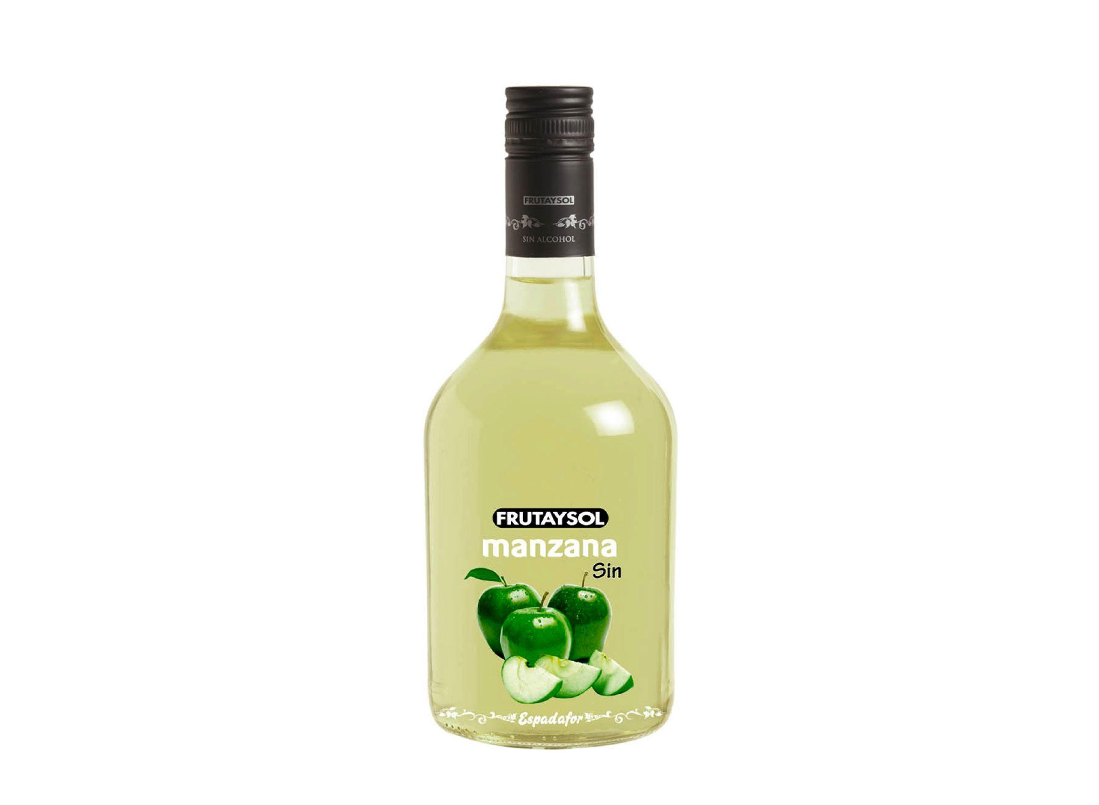 Botella de 70cl de bebida inspirada en licor de manzana sin alcohol Frutaysol