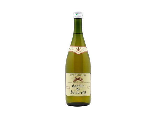 Botella de Castillo de Salobreña, bebida conocida como mosto sin alcohol a base de zumo de uva y de manzana, ideal como aperitivo y como acompañante en las comidas, sin gas, sin gluten, sin alcohol y bajo en azúcares.