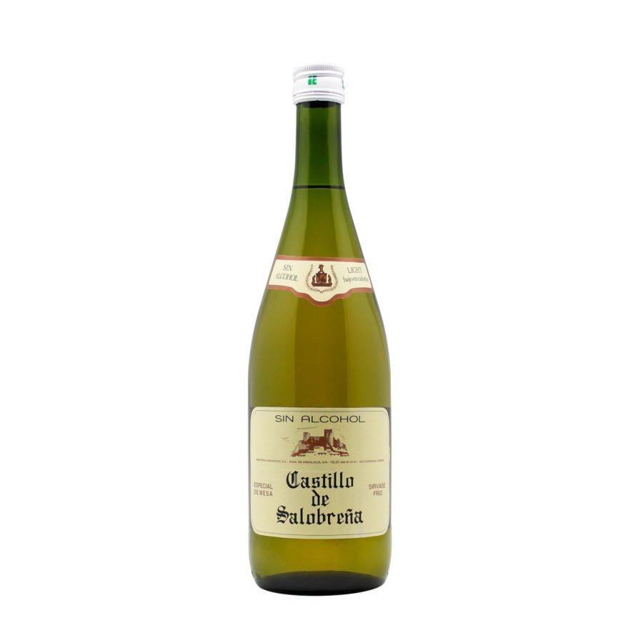Botella de Bebida Castillo de Salobreña, también conocida como mosto sin alcohol a base de zumo de uva y de manzana, ideal como aperitivo y como acompañante en las comidas, sin gas, sin gluten, sin alcohol y bajo en azúcares.
