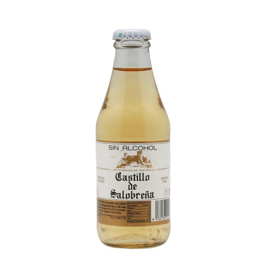 Botellín de 20cl de Castillo de Salobreña benjamín. Bebida sin alcohol a base de mosto de uva y manzana.