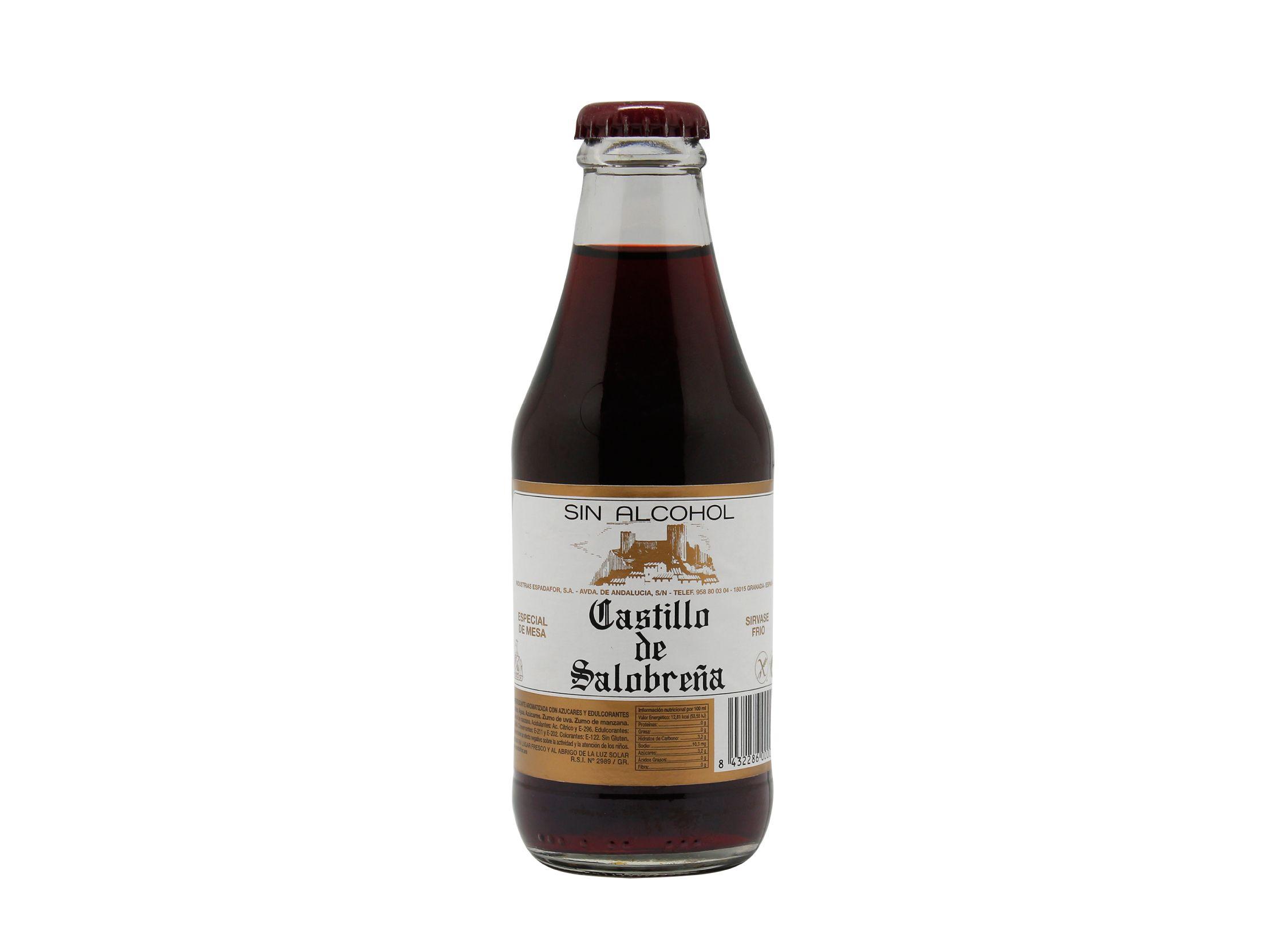 botellín de 20cl de bebida castillo de salobreña sin alcohol en formato benjamín. Perfecto para consumos individuales y hostelería