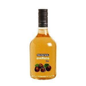 Botella de 70cl de bebida inspirada en licor de avellana sin alcohol marca Frutaysol producido por Industrias Espadafor S.A.