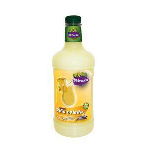 Botella de 1,75L de Cocktail sin alcohol Mixes La Celebración sabor Piña colada. Bebida fabricada por Industrias Espadafor.