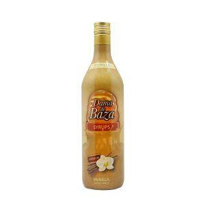 Botella de un litro de sirope de vainilla para café Dama de Baza Syrups, producto fabricado por Industrias Espadafor en Granada, España. Producto en stock listo para enviar.