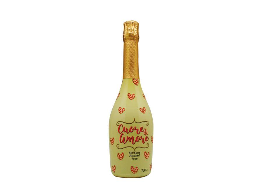 """vino del amor, una bebida de vino espumoso sin alcohol """"cuore di amore"""" en botella de 75cl"""