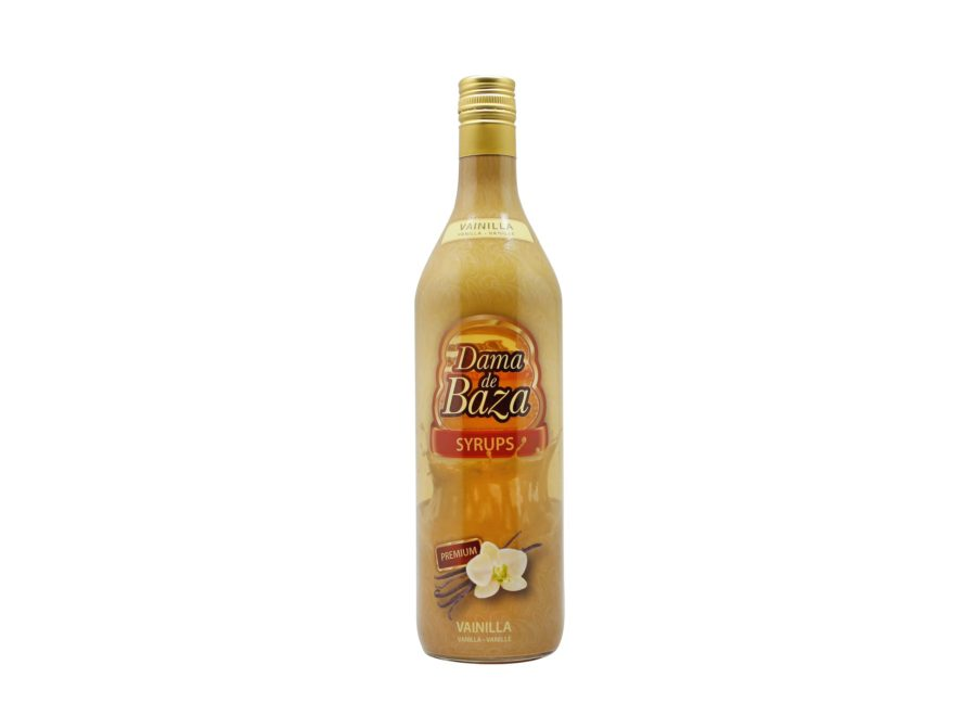 Botella de un litro de jarabe de vainilla para café Dama de Baza Syrups, producto fabricado por Industrias Espadafor en Granada, España. Producto en stock listo para enviar.