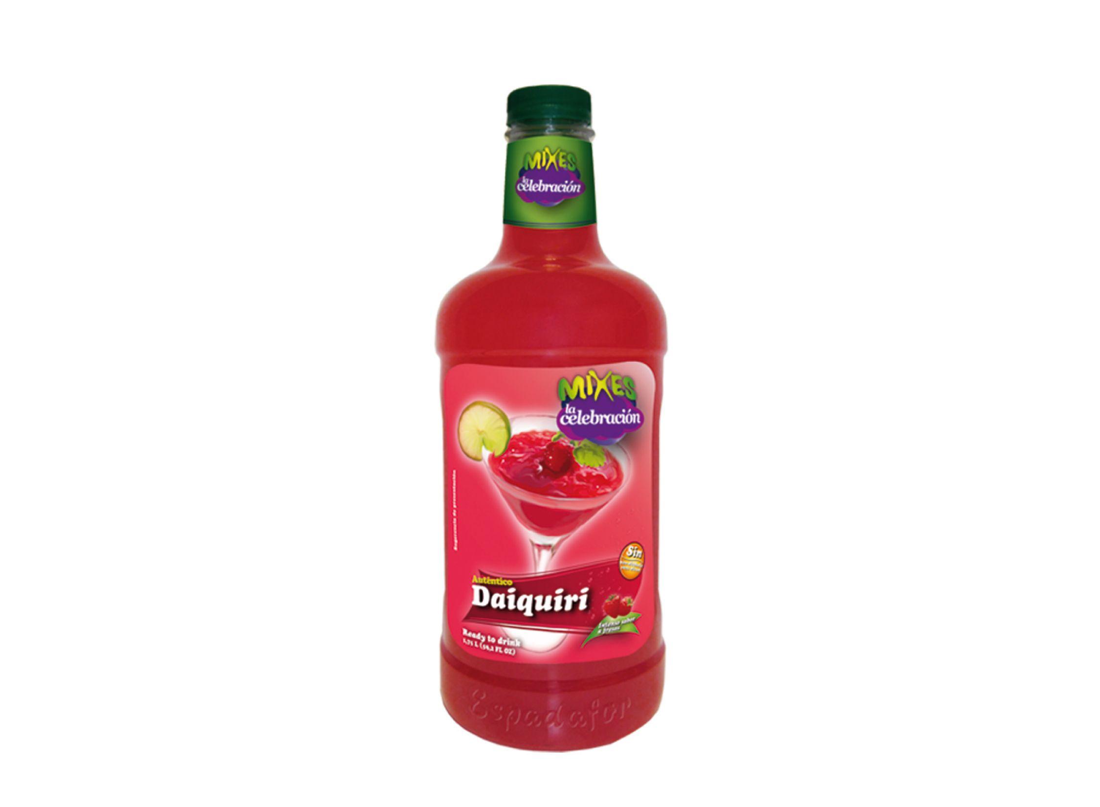 Botella de 1,75L de Cocktail Mixes La Celebración Daiquiri sin alcohol. Bebida fabricada por Industrias Espadafor.