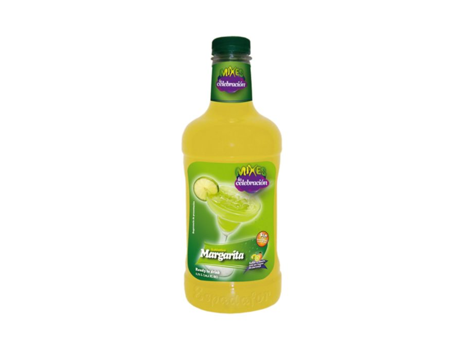 Botella de 1,75L de Cocktail Mixes La Celebración sabor Margarita sin alcohol. Bebida fabricada por Industrias Espadafor.