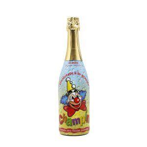 Botella de 75cl con corcho de champín, bebida espumosa sin alcohol ideal para fiestas infantiles y cumpleaños