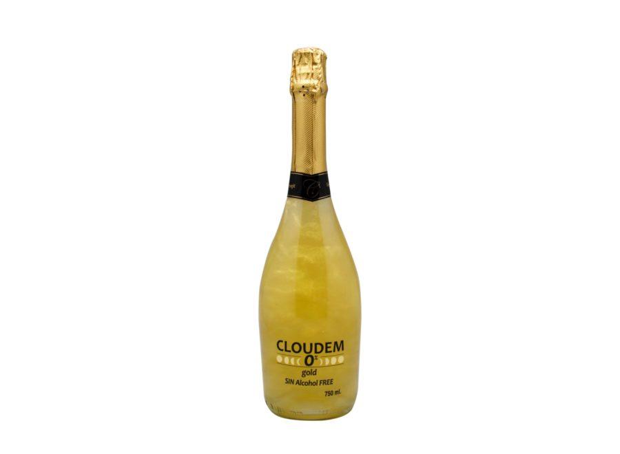 Botella de 75cl de cloudem gold sin alcohol, bebida 0% con efecto oro, genial para sorprender a tus invitados.
