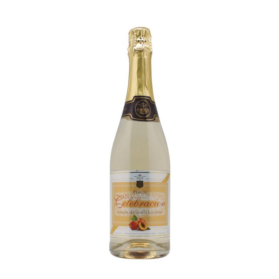 Botella de 75cl de Espumoso de Melocotón Sin Alcohol marca Le Celebración producido por industrias Espadafor en Granada, España. Disponible para comprar online, en stock listo para envío.