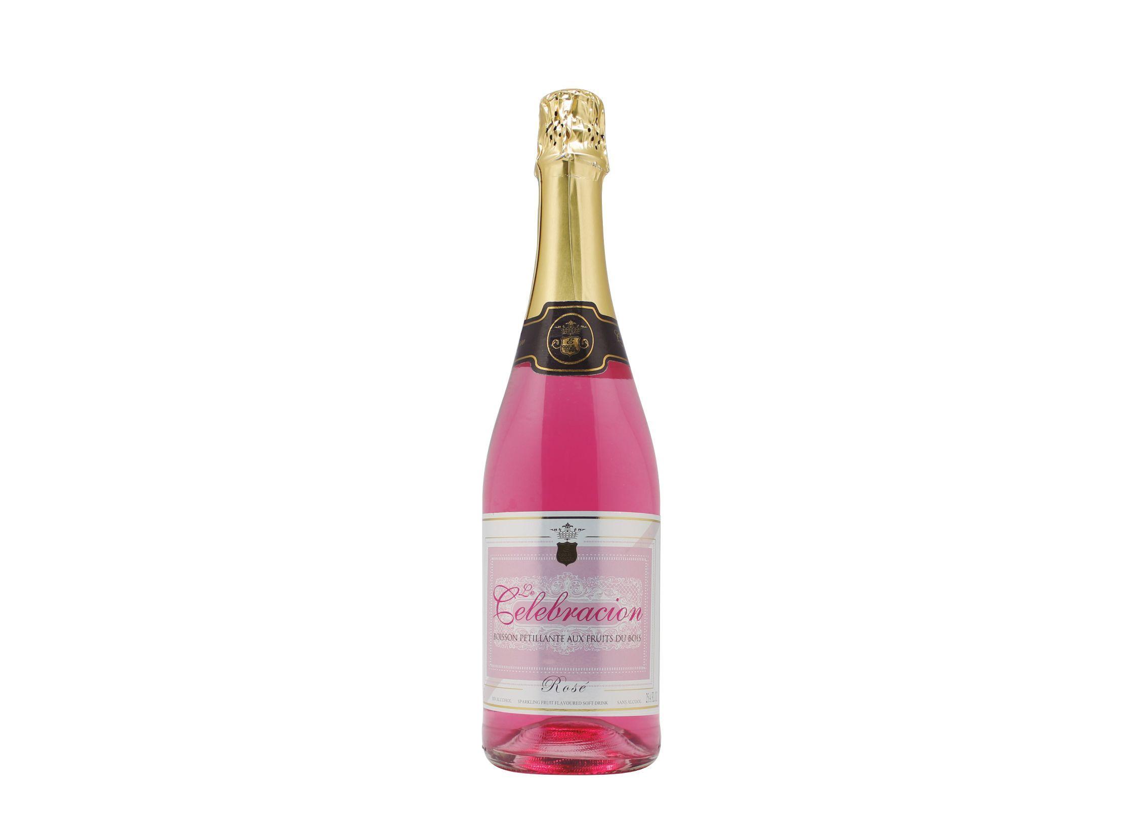 Botella de 75cl de espumoso rosado sin alcohol marca Le Celebración, una bebida sin alcohol ideal para celebraciones, producida por Industrias Espadafor