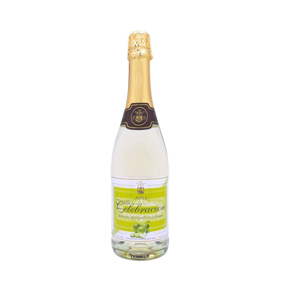 75cl bottle of Le Celebración brand Alcohol-free Apple Sparkling produced by Espadafor Industries in Granada, Spain. Available to buy online, in stock ready for shipment.