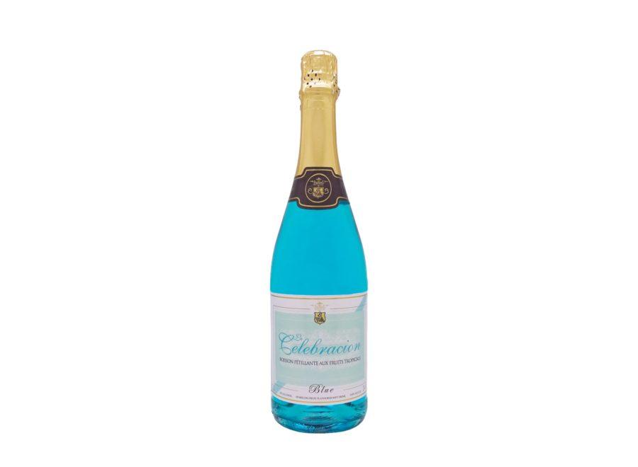 Botella de 750ml Le Celebración Blue un espumoso azul sin alcohol, ideal para celebraciones sin alcohol. Producido por Industrias Espadafor. En stock