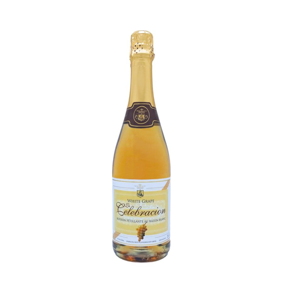75cl bottle of non-alcoholic white grape sparkling wine Le Celebración White Grape, an ideal non-alcoholic drink for celebrations, produced by Industrias Espadafor