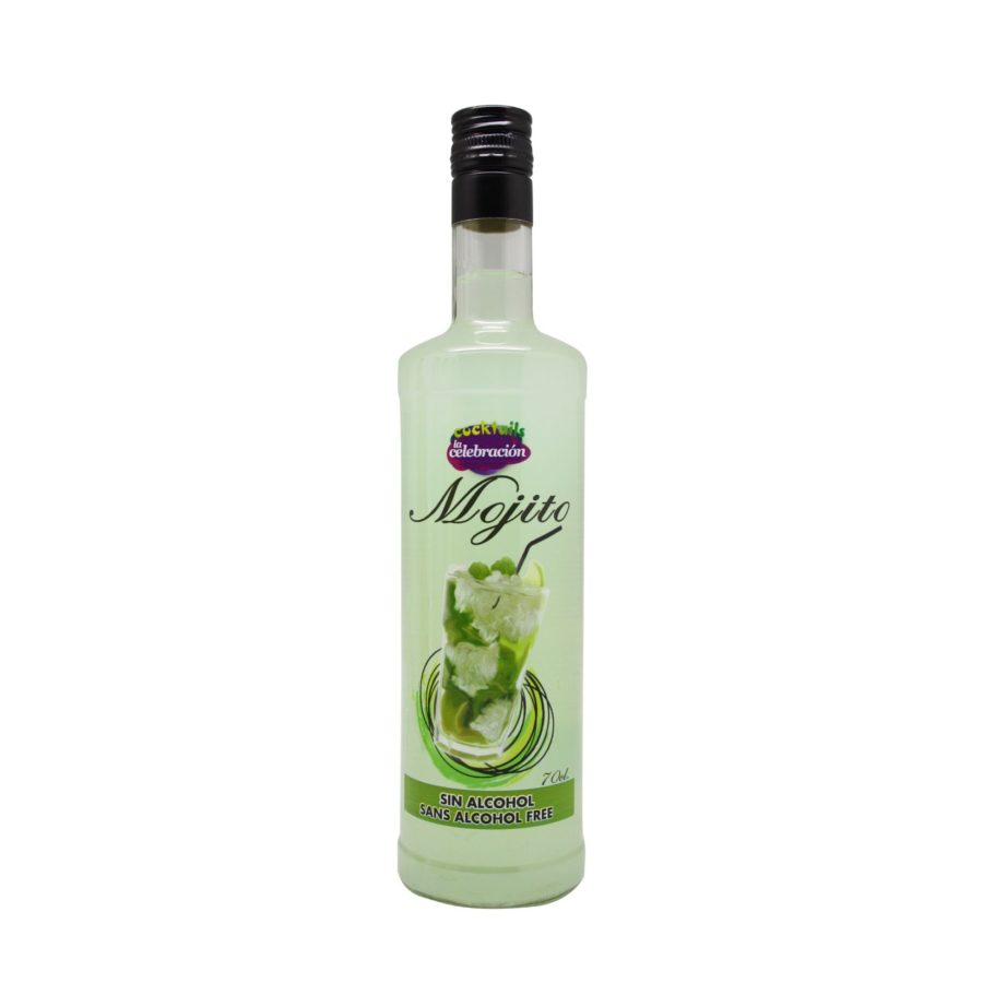 bottle of ready-to-drink alcohol-free pre-mixed Mojito in 70 cl bottle
