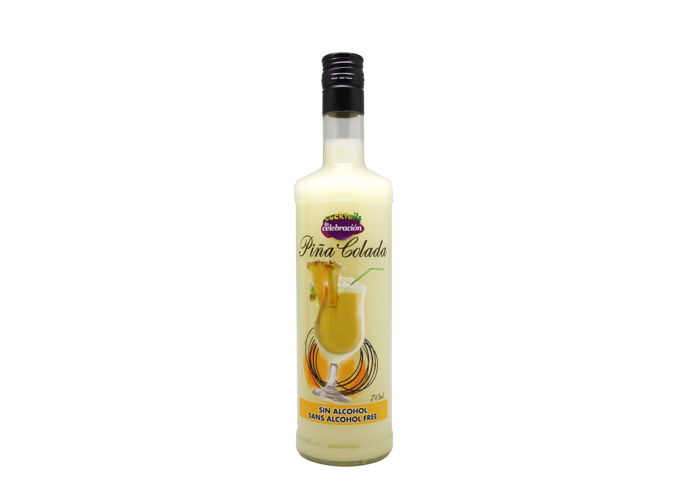 Cocktail Piña Colada sin alcohol botella de 0,70cl producido por Industrias Espadafor S.A. Listo para tomar.