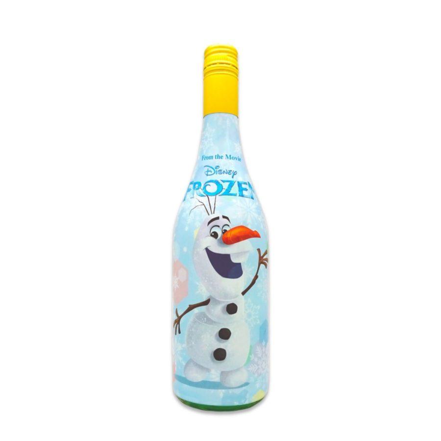 Bebida sin alcohol espumosa, basada en los personajes de Frozen, la famosa película de Disney, ahora con sabor tropical, ideal para fiestas de cumpleaños.