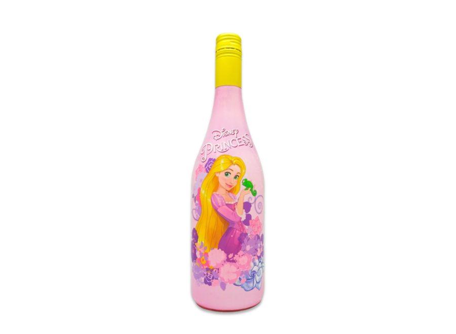 Botella de 75cl de bebida Disney Princess, personaje Rapunzel de la película de animación Enredados. Ideal para cumpleaños y fiestas infantiles, aportará un toque de imaginación y diversión geniales.