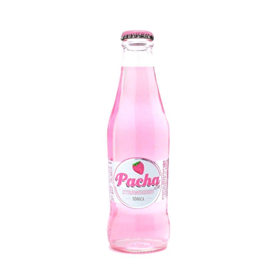 Botellín de 200ml de tónica de fresa PachaSin Strawberry. Producto fabricado en Granada, España. En stock listo para enviar.