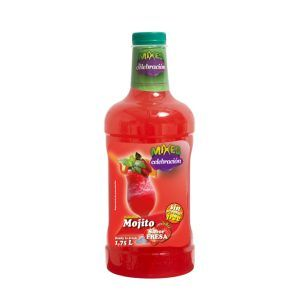 Botella de 1,75 litros de Mojito de fresa sin alcohol marca Mixes La Celebración fabricada por Industrias Espadafor