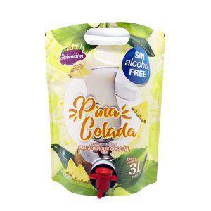 Cocktail Piña Colada sin alcohol en bolsa con grifo de 3 litros producido por Industrias Espadafor S.A. Listo para tomar.
