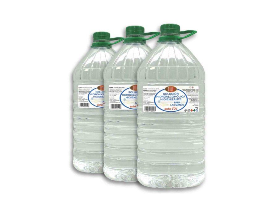 Pack de 3 garrafas de 5 litros solución hidroalcohólica LIAL