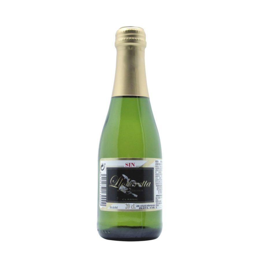 botella pequeña de lloberetta, también conocido como lloberetta benjamín, bebida presentada en botellín de 20cl con tapón de rosca, ideal para porciones individuales.