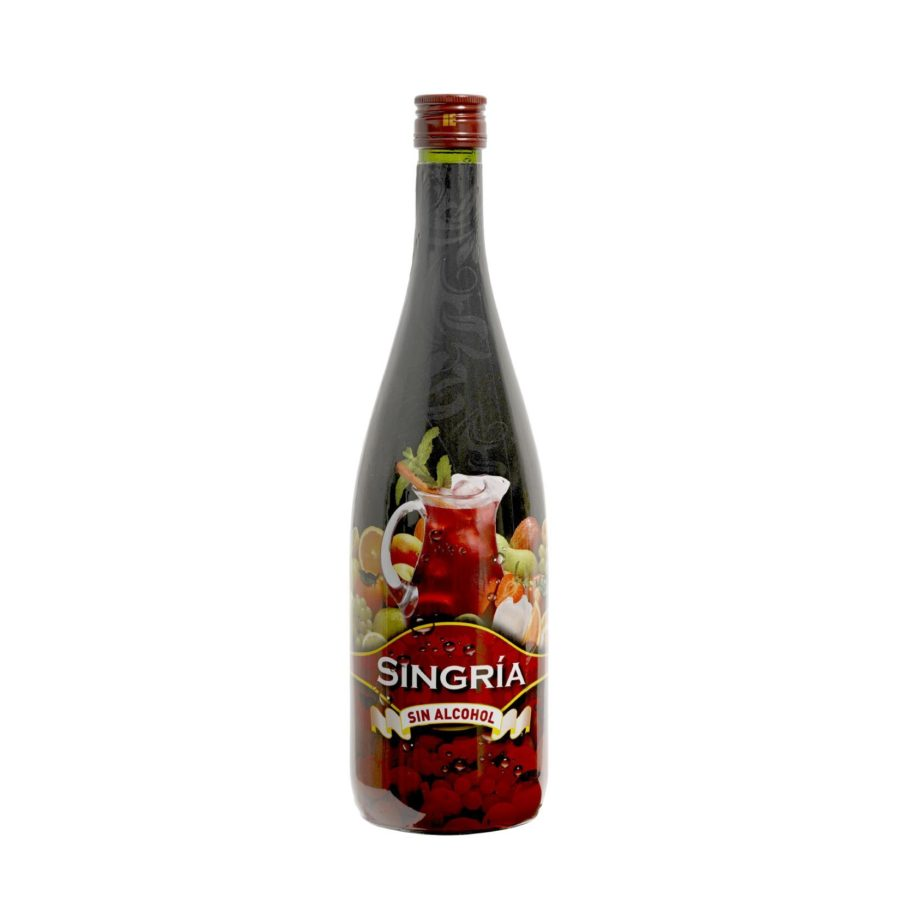 Bottle in 1 litre format of singria, a product based on alcohol-free sangria. Drink made in Granada, Spain. In stock ready for shipment.