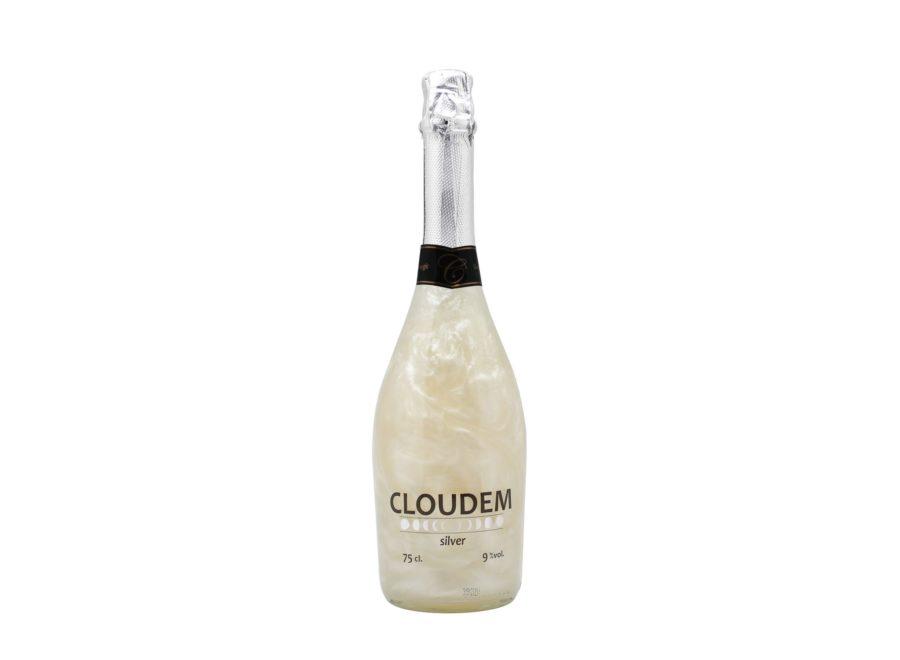 Botella de 75cl de cloudem silver, vino espumoso con efecto mágico al agitar. Producto hecho en Granada, España. En stock listo para enviar.