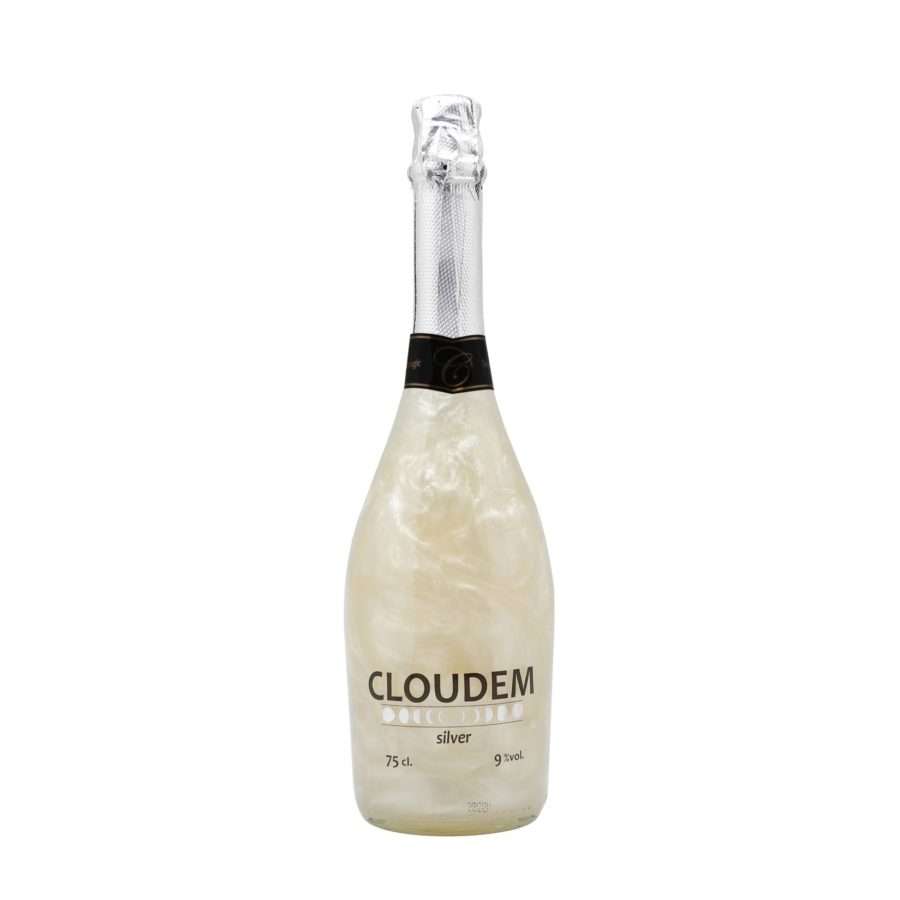 Botella de 75cl de cloudem silver, vino espumoso con efecto mágico de plata al agitar. Producto hecho en Granada, España. En stock listo para enviar.