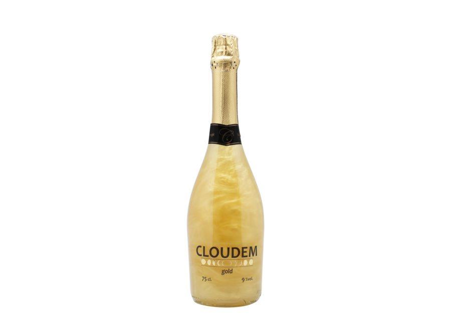 Botella de 75cl de Cloudem Gold nuestro vino espumoso con efecto nube al agitar. Producto fabricado en Granada, España. En stock listo para enviar.