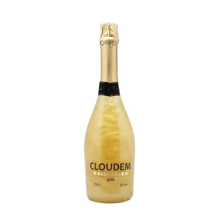 Botella de 75cl de Cloudem Gold nuestro vino espumoso con efecto dorado al agitar. Producto fabricado en Granada, España. En stock listo para enviar.