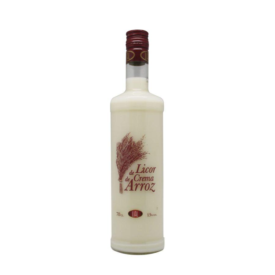 Botella de 70cl de licor crema de arroz marca LIAL, producto fabricado en Granada, España. En stock listo para envío.