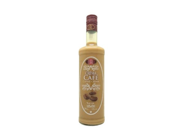 Botella de 70cl de Licor de Crema de Café marca LIAL, producto andaluz fabricado en Granada, disponible para comprar en stock listo para envío.