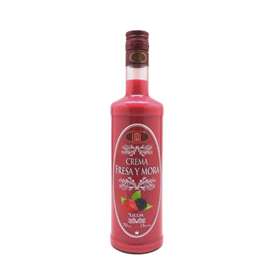 Botella de 70cl de Licor de Crema de Fresa y Mora marca LIAL, producto andaluz fabricado en Granada, disponible para comprar en stock listo para envío.