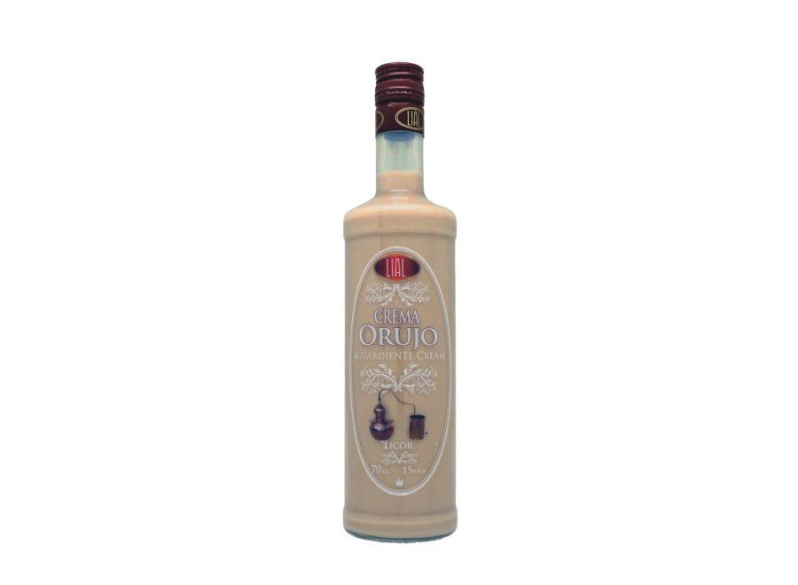 Botella de 70cl de licor de crema de orujo marca LIAL. Producto hecho en Granada.