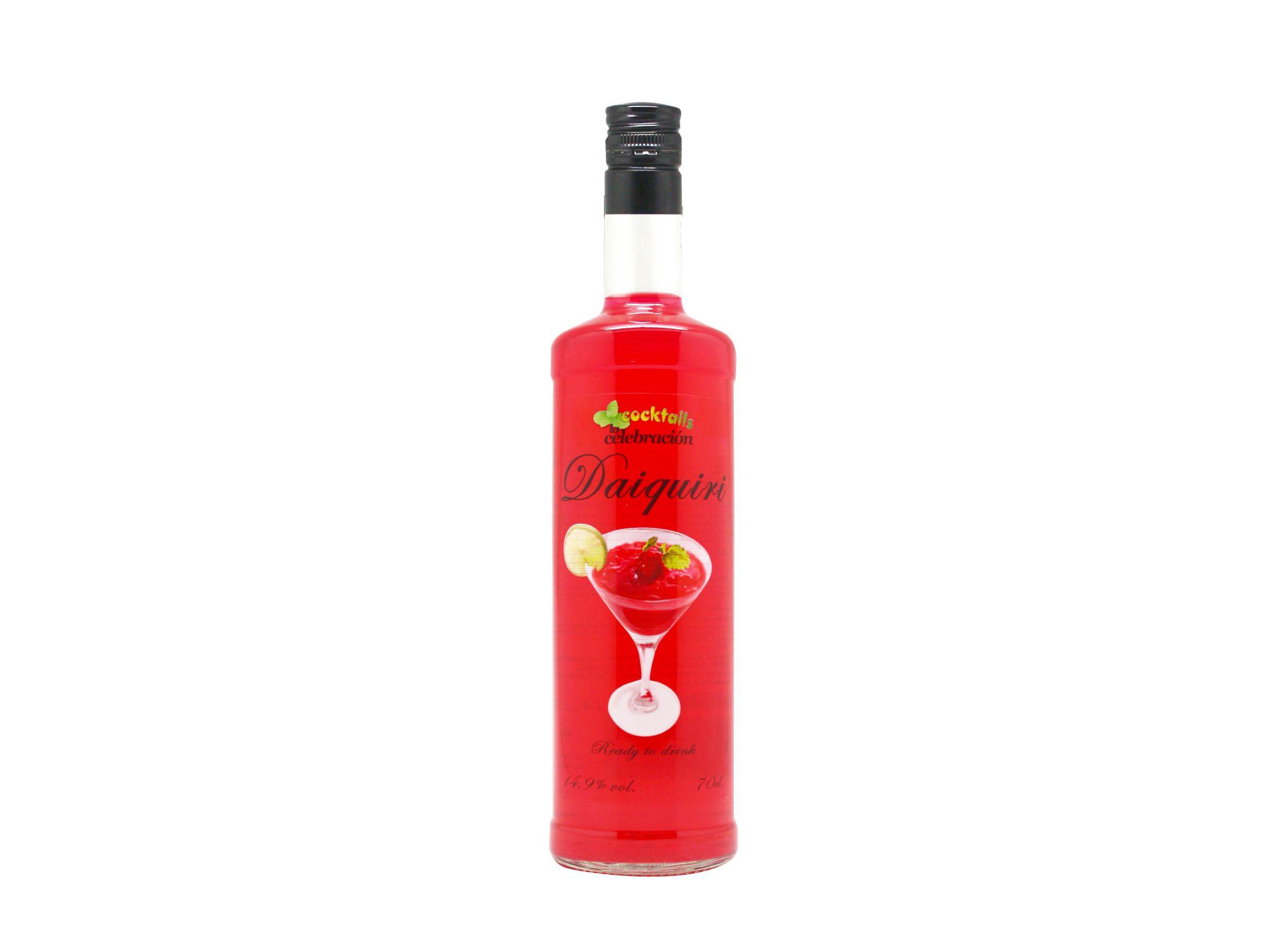 bebida de cocktail daiquiri botella con alcohol, en tamaño de 70cl con 14,9 grados de alcohol ya preparada lista para tomar.