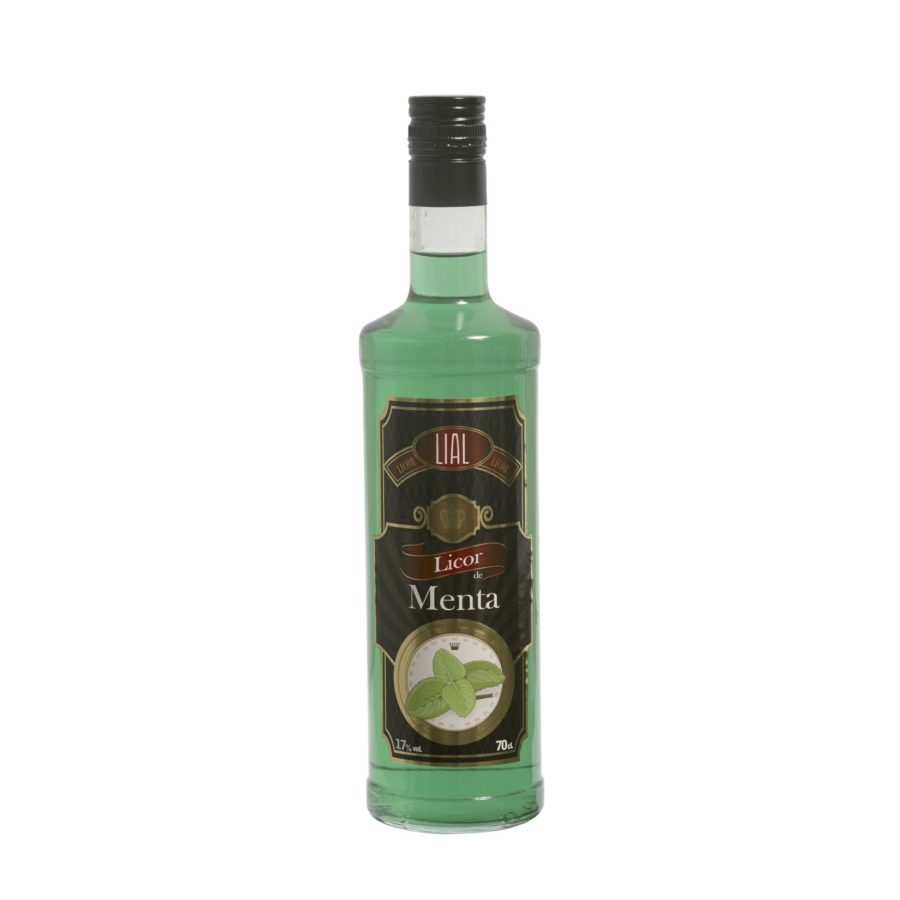 Botella de 70cl de licor de menta fabricado por LIAL