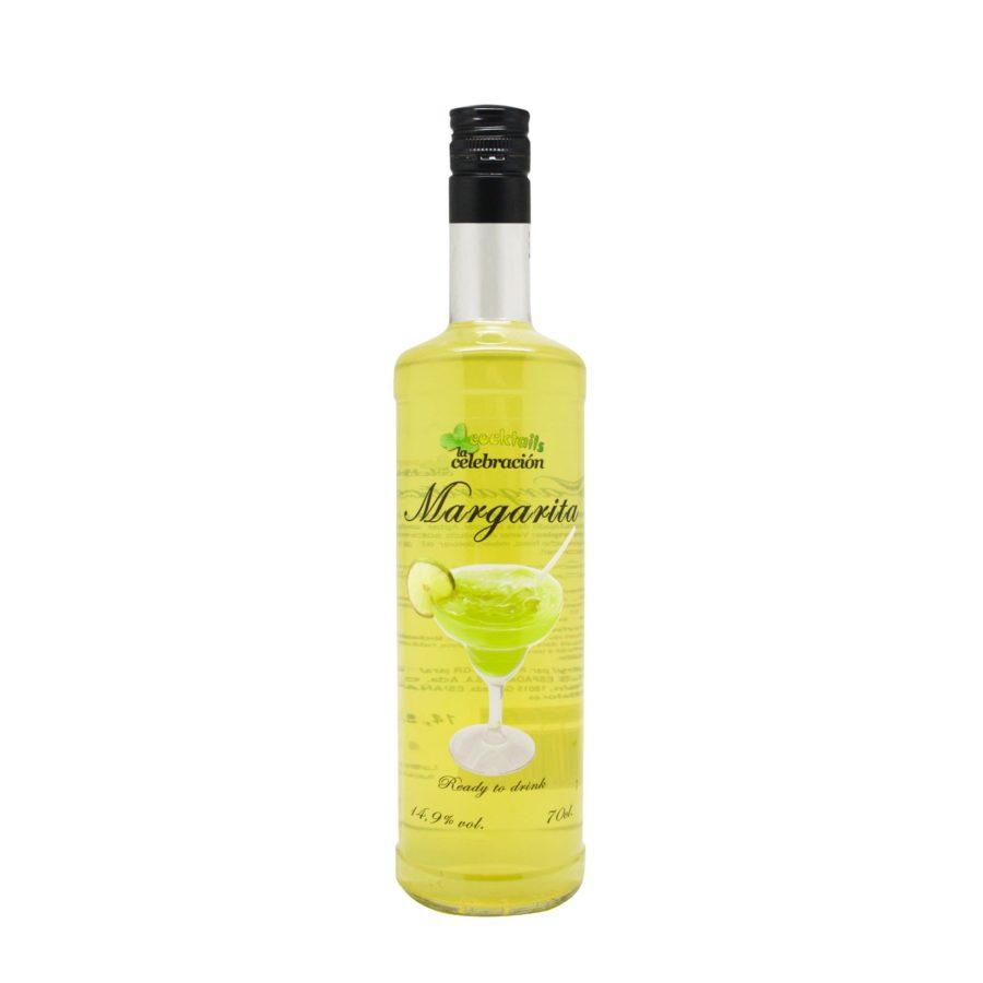 botella de cocktail margarita con alcohol, en formato de 70cl, premezclado listo para tomar. Marca La Celebración