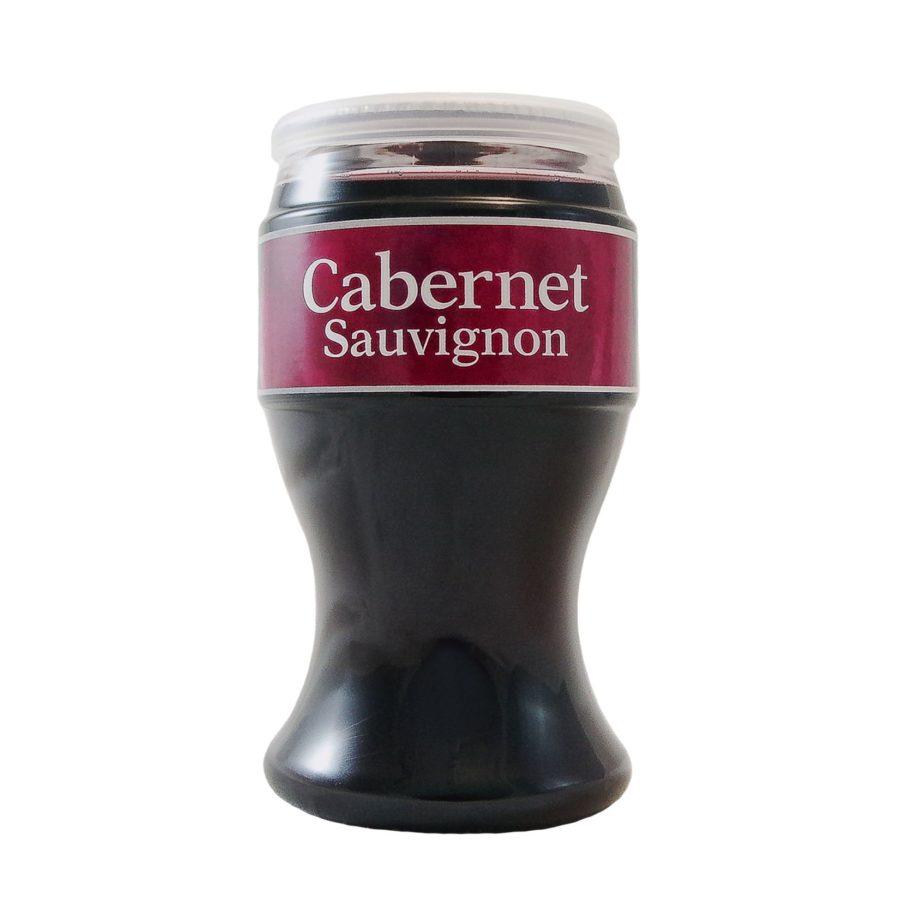 Copa de 187ml de Miovino Cabernet, vino cabernet listo para tomar presentado en vaso más tapadera. Genial para transportar y tomar en cualquier momento y lugar. Producido por Industrias Espadafor en Granada, España.