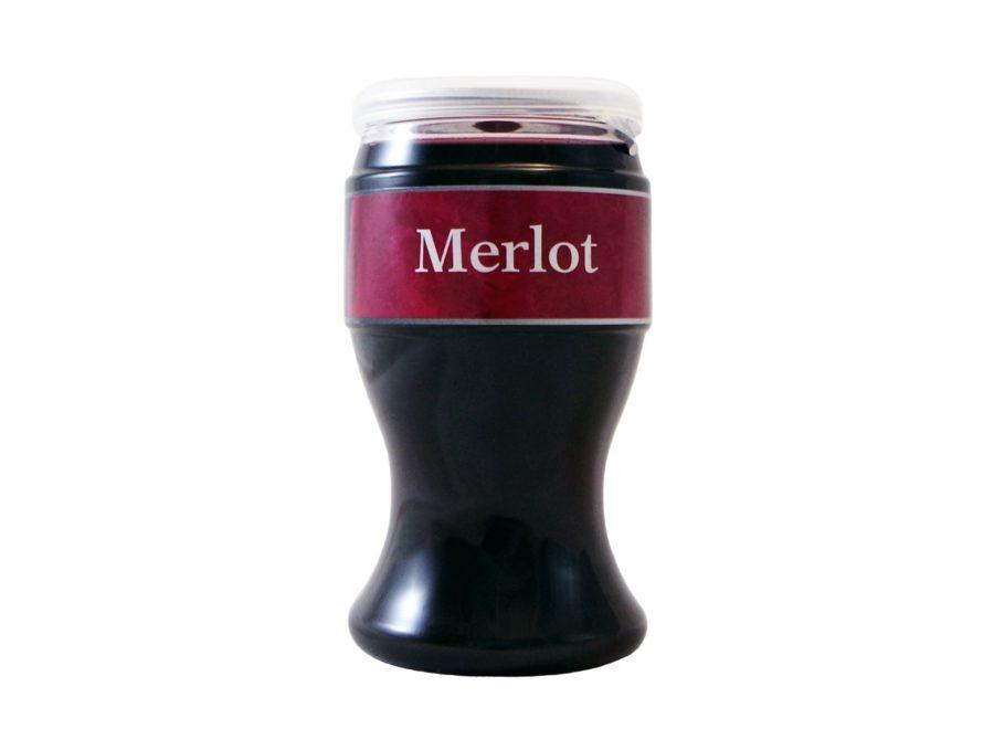Vaso de Miovino Merlot, vino merlot para llevar, listo para tomar en cualquier momento y lugar. Producto fabricado en Granada, España por Industrias Espadafor S.A