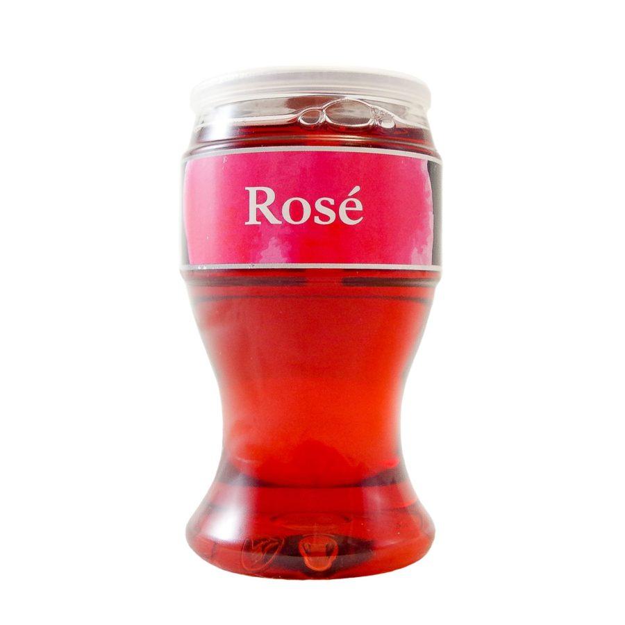 Copa de Miovino Rosé, vino rosado en copa para llevar ideal para tomar en cualquier momento y lugar, bebida con alcohol producida por Industrias Espadafor, en Granada, España.