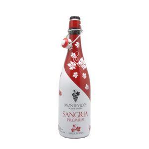 Botella de 1 litro de Sangría Montevides lista para tomar, producto fabricado en España. En stock listo para enviar.