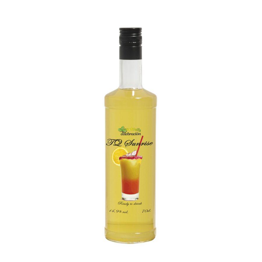 Botella de Cocktail Tequila Sunrise con 14,9% de alcohol en formato de 70cl. Producto fabricado en Granada, España. En stock, listo para enviar.