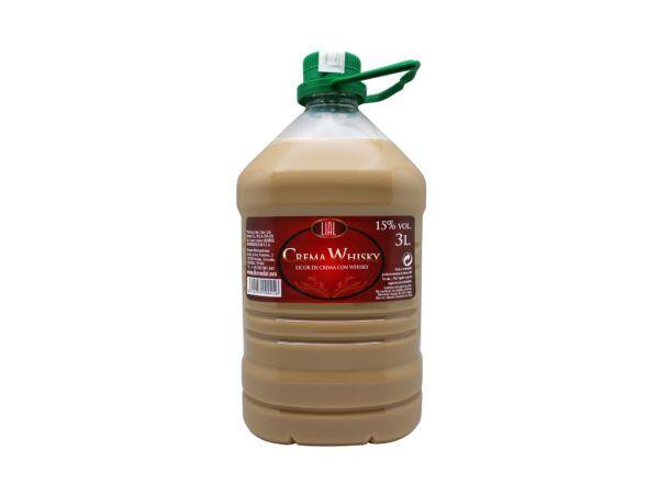 Garrafa de 3 litros de licor de crema de whisky, marca lial. Producto fabricado en Granada, España. En stock listo para enviar.