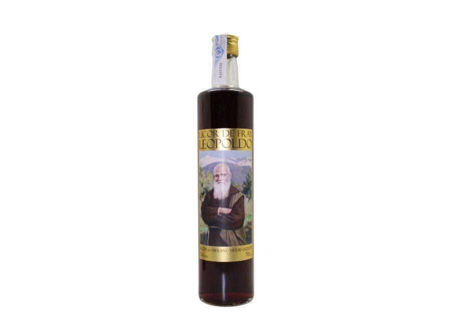 Botella de 70cl de licor Fray Leopoldo, bebida con alcohol 32%. Este producto está fabricado en Granada, España. En stock listo para enviar.