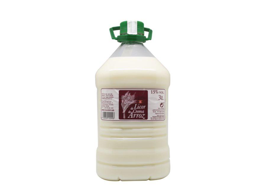 Garrafa de licor de crema de arroz marca lial. Producto fabricado en Granada, España. En stock listo para enviar.