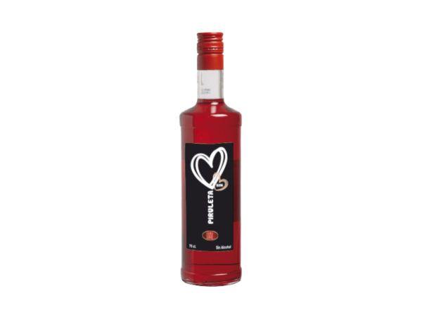 Botella de 70cl de licor de sin alcohol de piruleta, una bebida con un sabor irresistible. Producto fabricado en Granada, España. En stock listo para enviar.